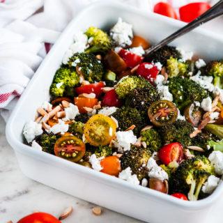 Roasted Broccoli Goat Cheese Salad | aberdeenskitchen.com