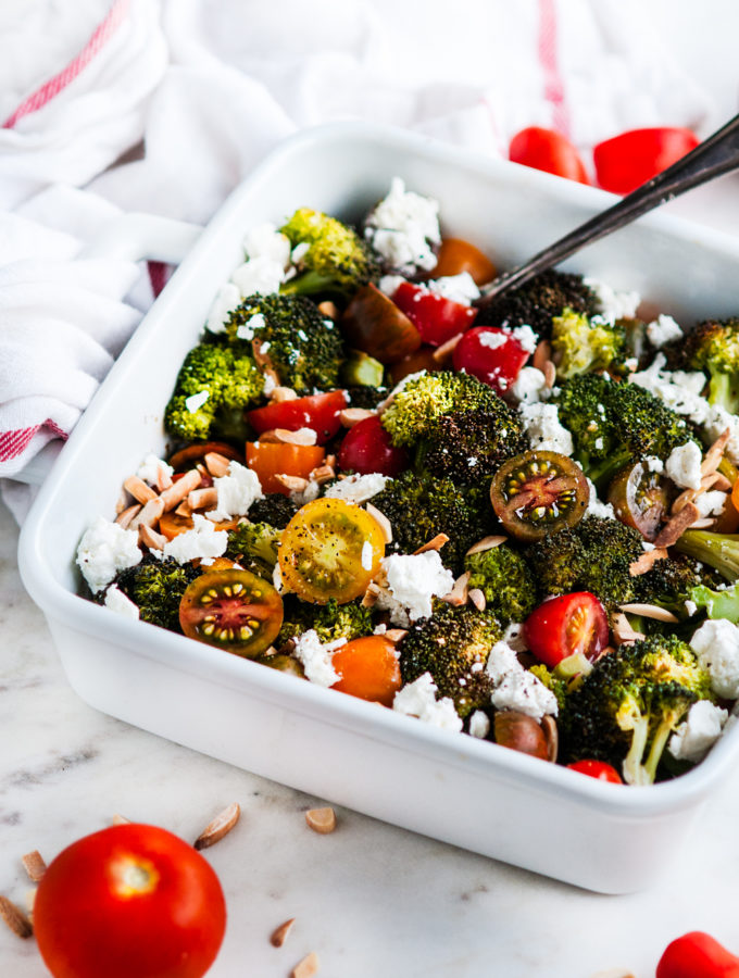 Roasted Broccoli Goat Cheese Salad