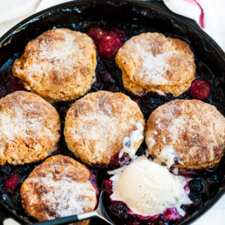 Skillet Berry Cobbler with Buttermilk Biscuits | aberdeenskitchen.com