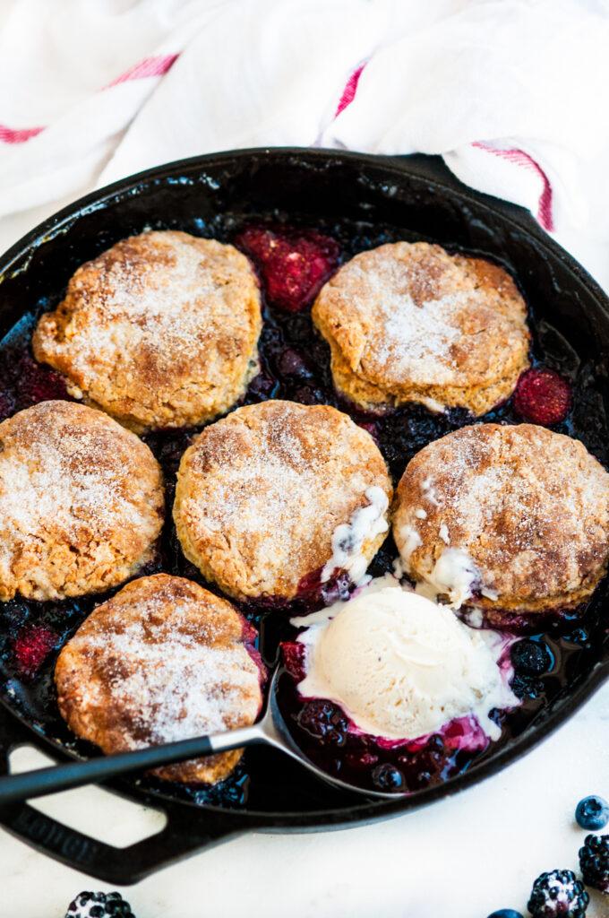Skillet Berry Cobbler with Buttermilk Biscuits | aberdeenskitchen.com