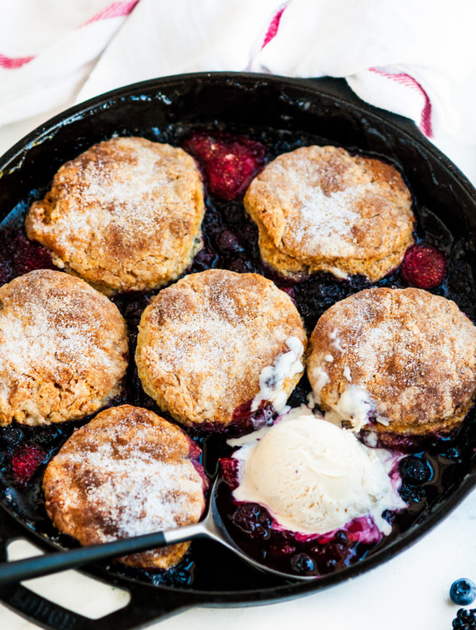 Skillet Berry Cobbler with Buttermilk Biscuits
