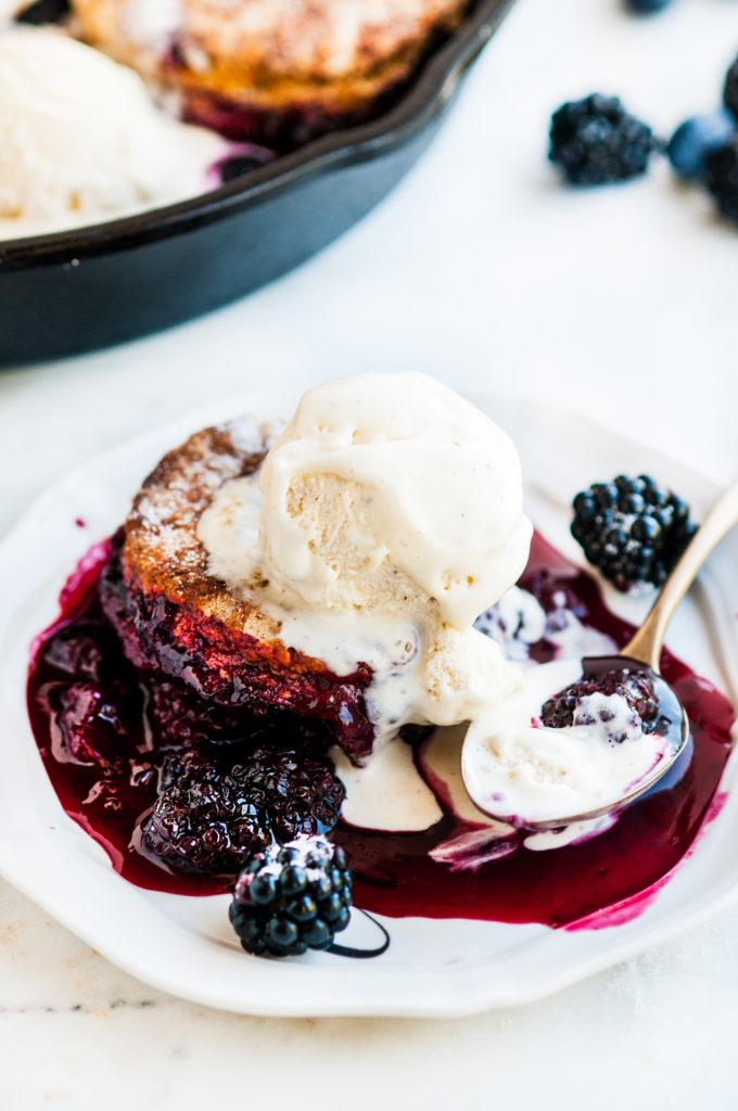 Skillet Berry Cobbler with Buttermilk Biscuits   aberdeenskitchen.com