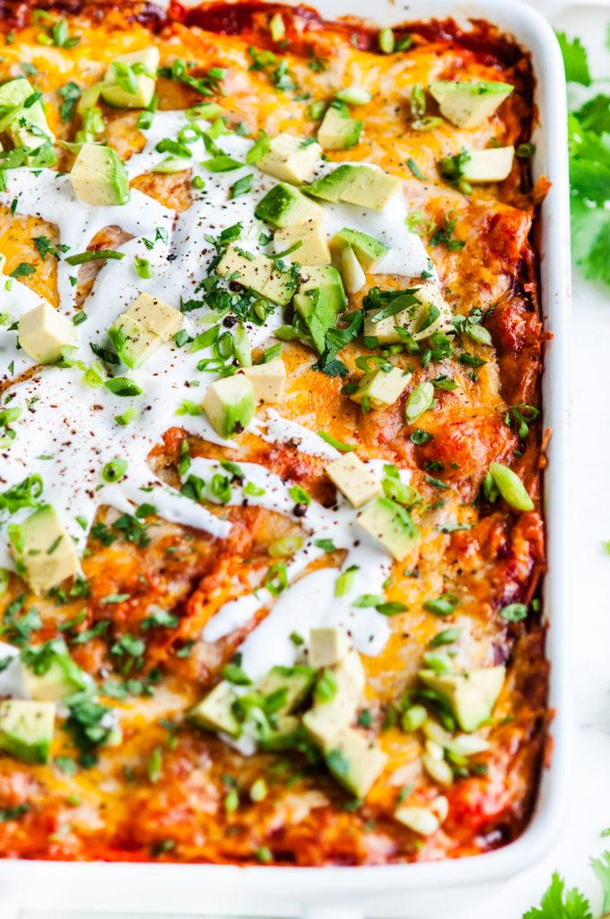 Cheesy Red Chicken Enchilada Casserole | aberdeenskitchen.com