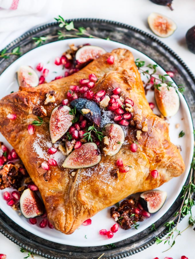 Puff Pastry Baked Brie with Fig Jam and Candied Walnuts