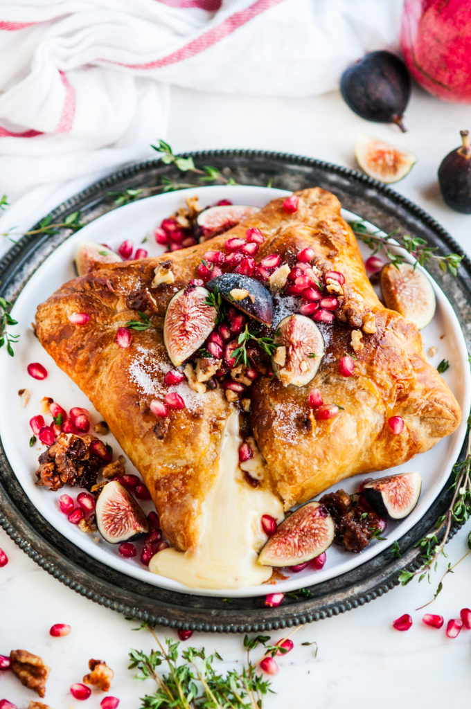 Puff Pastry Baked Brie with Fig and Candied Walnuts | aberdeenskitchen.com