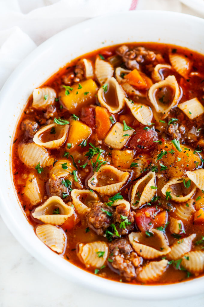 Spicy Autumn Sausage Butternut Squash Stew | aberdeenskitchen.com