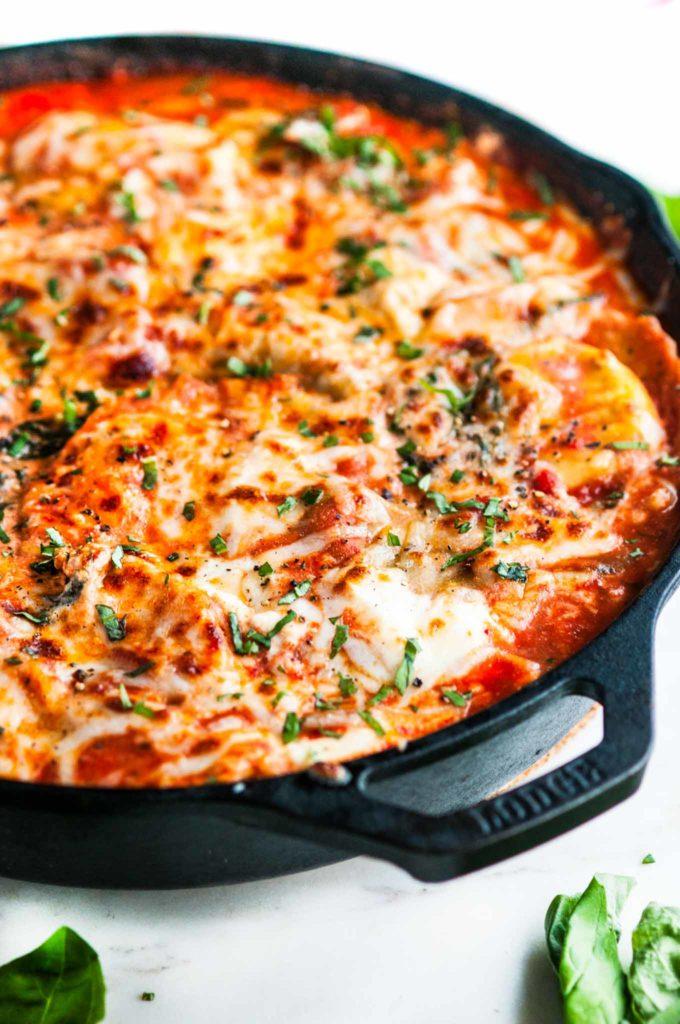 One Pot Skillet Ravioli Lasagna with Spinach and Kale   aberdeenskitchen.com