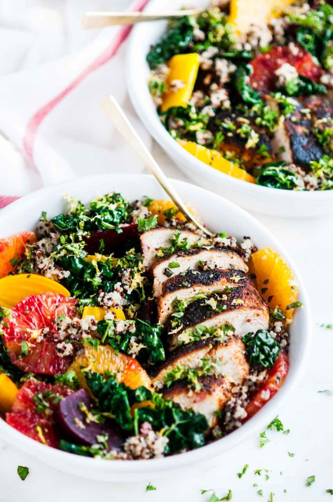Healthy Chicken Quinoa Beet Bowls | aberdeenskitchen.com