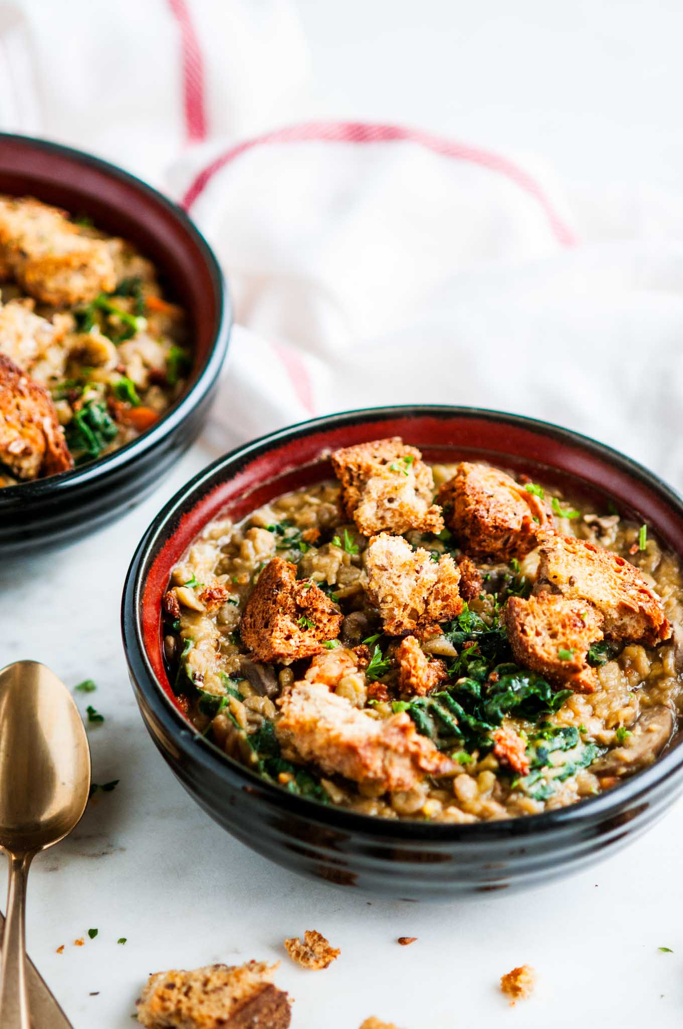 One Pot Creamy Lentil Soup with Whole Wheat Croutons