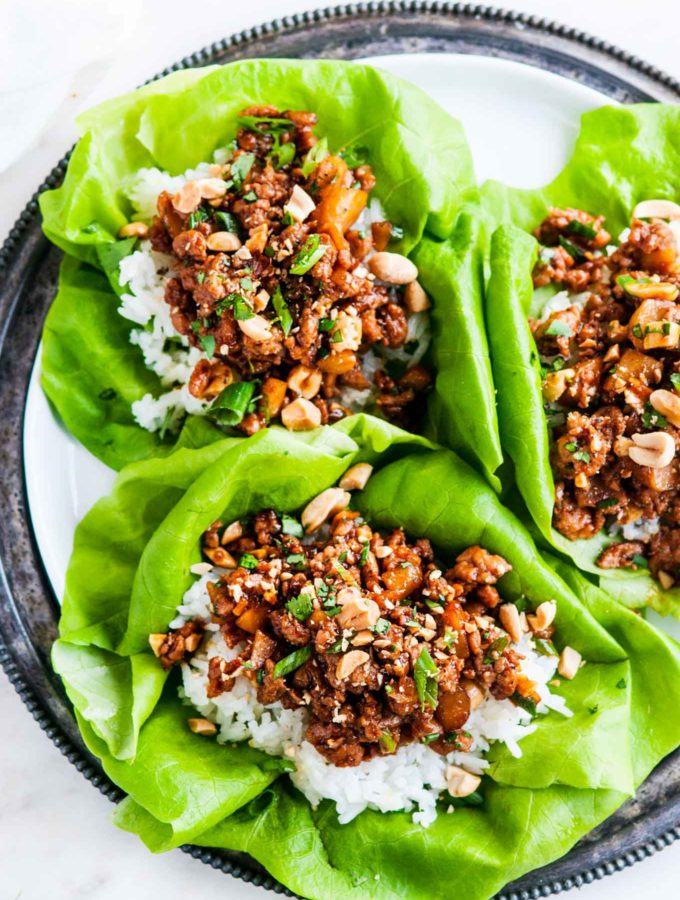 Peanut Chicken Lettuce Wraps with Jasmine Rice | aberdeenskitchen.com