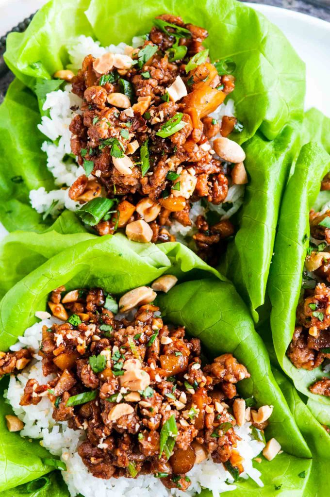 Peanut Chicken Lettuce Wraps with Jasmine Rice | aberdeenskitchen.com