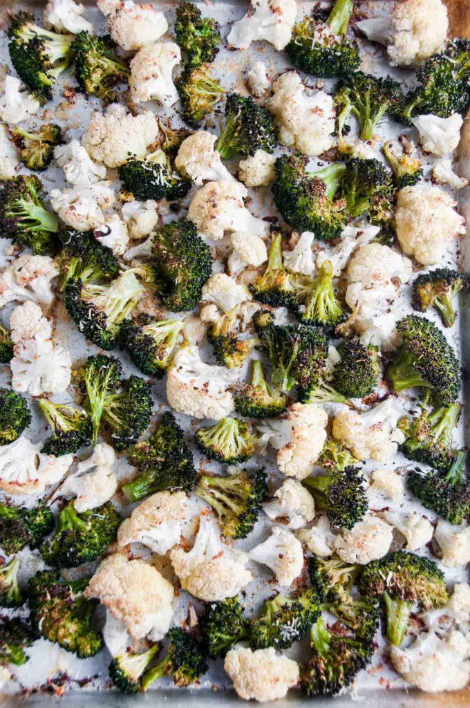 Roasted Parmesan Broccoli Cauliflower | aberdeenskitchen.com