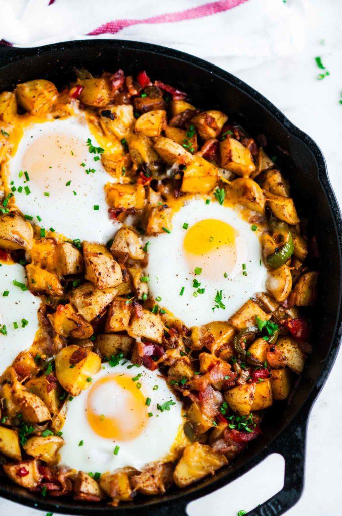 Skillet Potato and Egg Hash | aberdeenskitchen.com