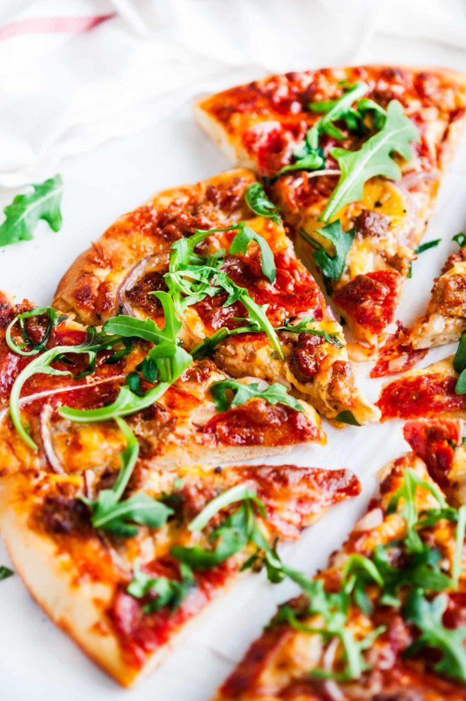 Spicy Sausage Pepperoni Pizza | aberdeenskitchen.com