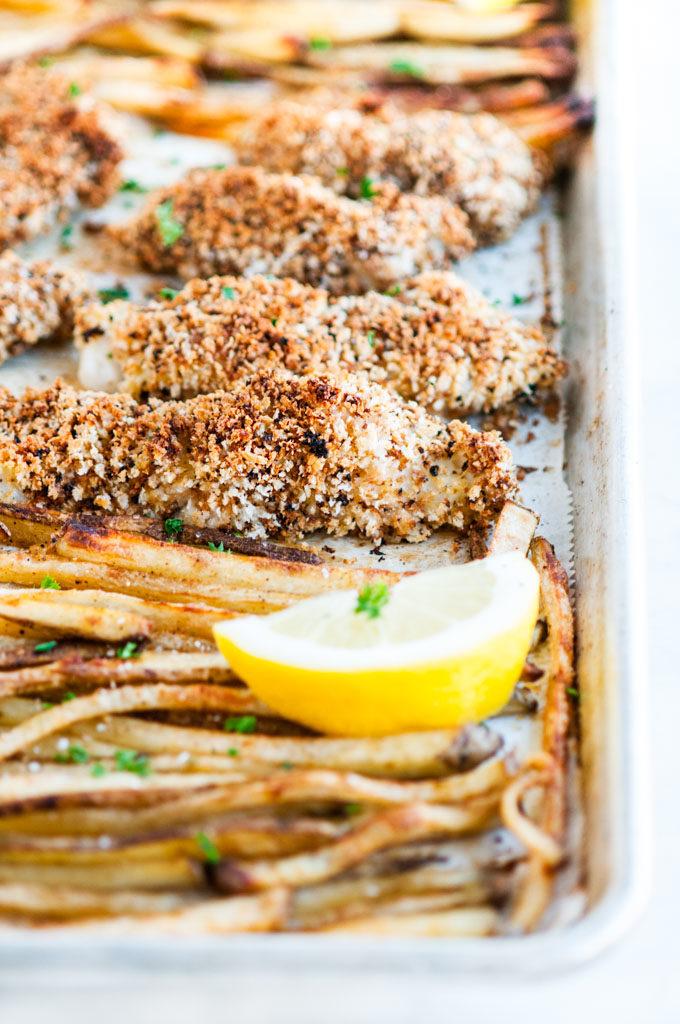 Sheet Pan Baked Fish and Chips   aberdeenskitchen.com