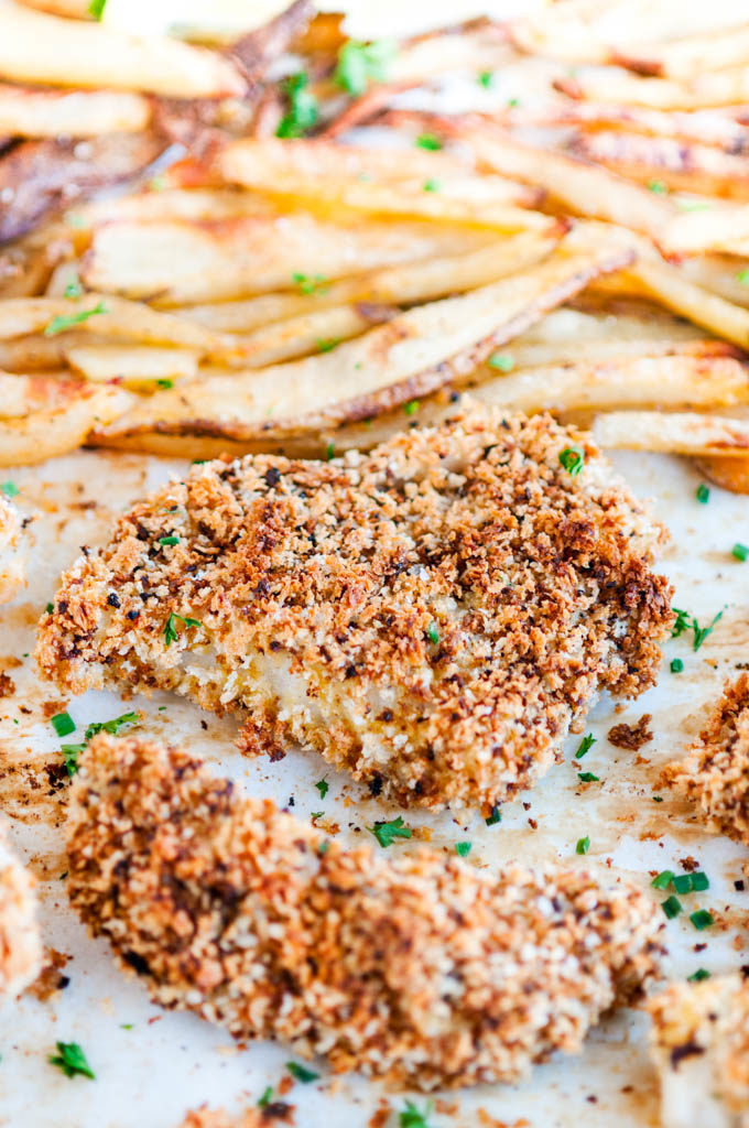 Sheet Pan Baked Fish and Chips | aberdeenskitchen.com