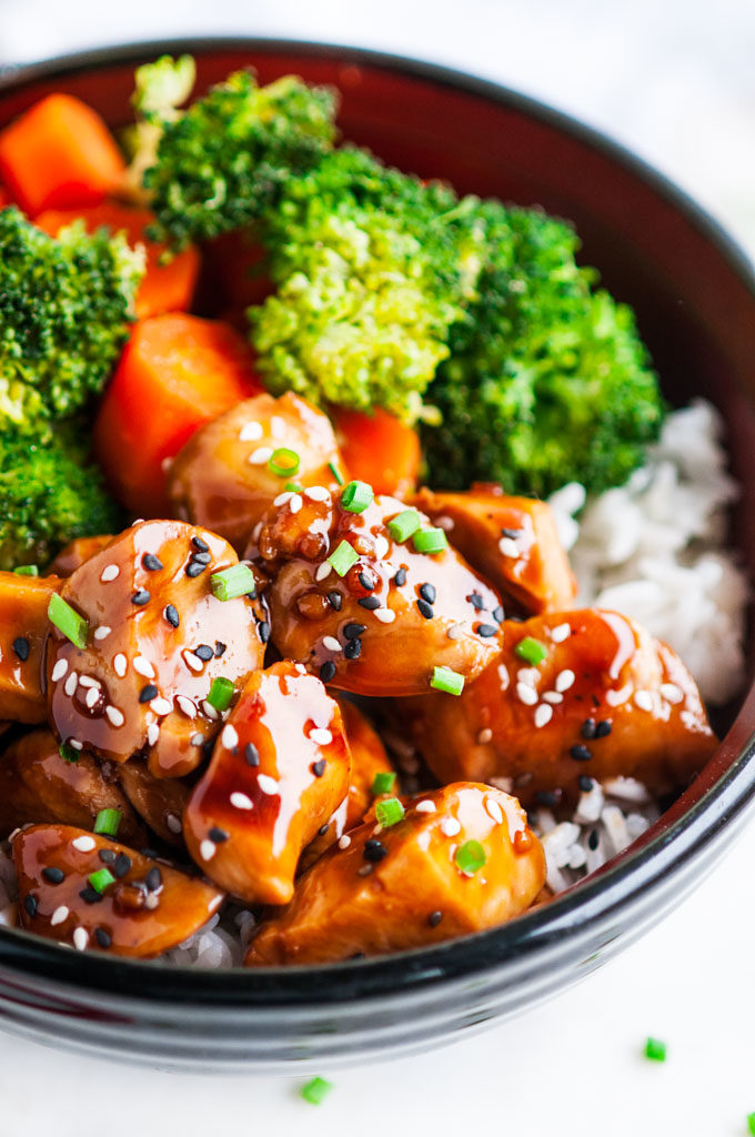 Chicken Teriyaki Bowls with Homemade Sauce Close Up