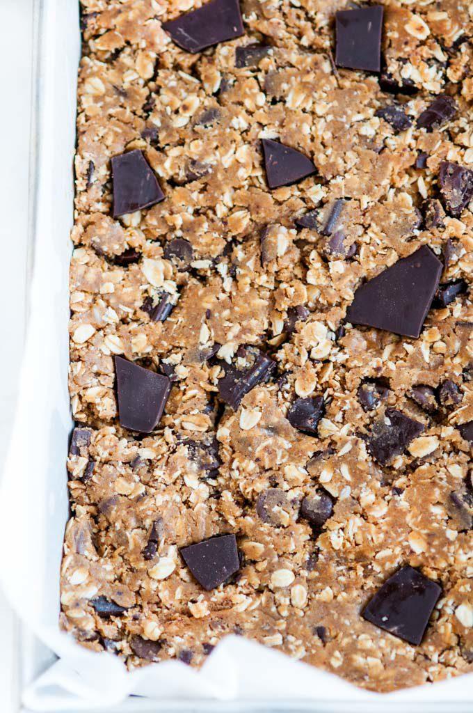 dark chocolate oatmeal bars raw dough in baking dish