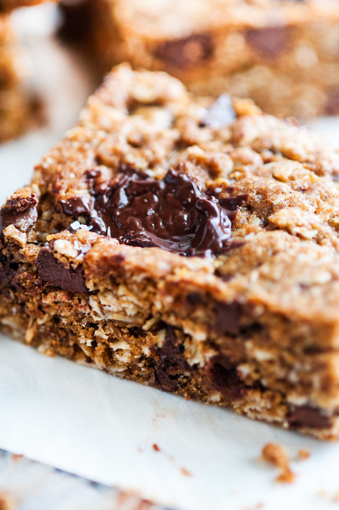 Dark Chocolate Oatmeal Bars close up