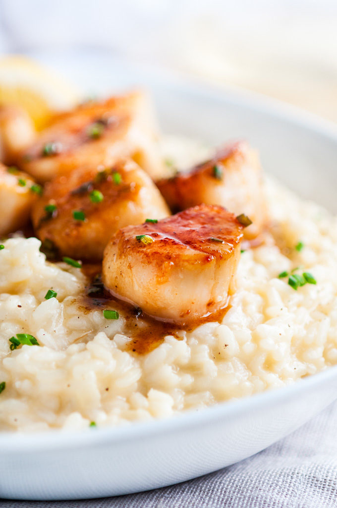 Lemon Chive Butter Seared Scallops with Parmesan Risotto | aberdeenskitchen.com