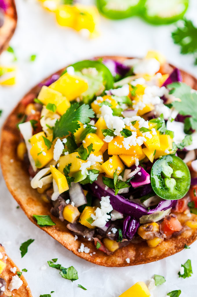 Vegetarian Black Bean Tostadas close up