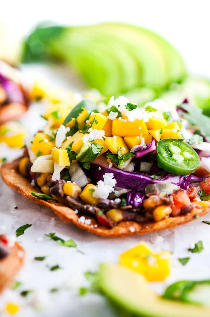 Vegetarian Black Bean Tostadas side view