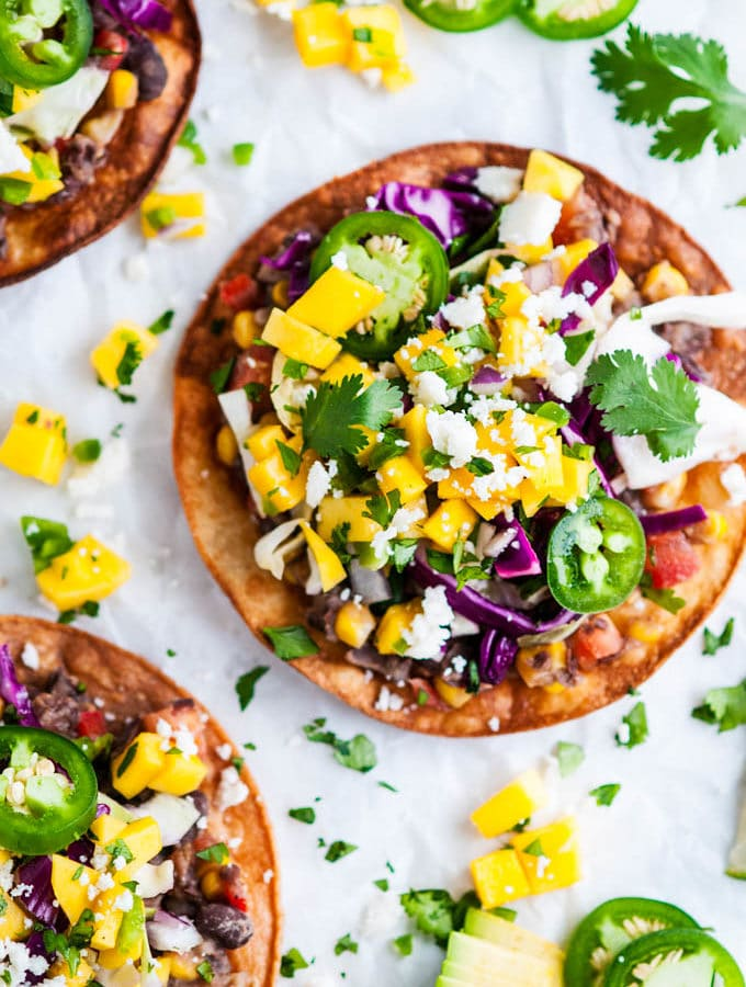 Vegetarian Black Bean Tostadas with Cabbage Slaw and Mango Salsa
