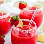 Frozen Strawberry Margaritas in glasses