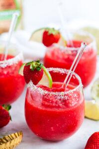 Frozen Strawberry Margaritas in glasses