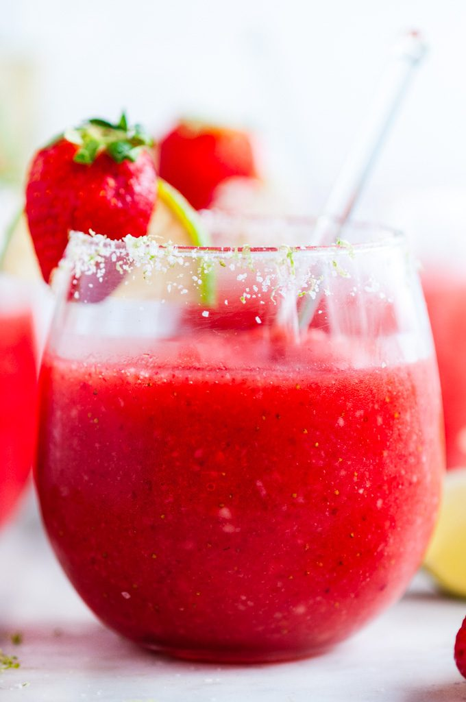 Frozen Strawberry Margaritas close up
