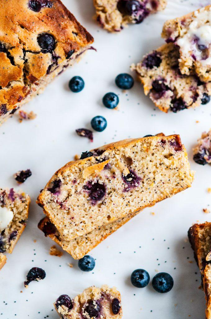 Lemon Blueberry Poppy Seed Bread slices