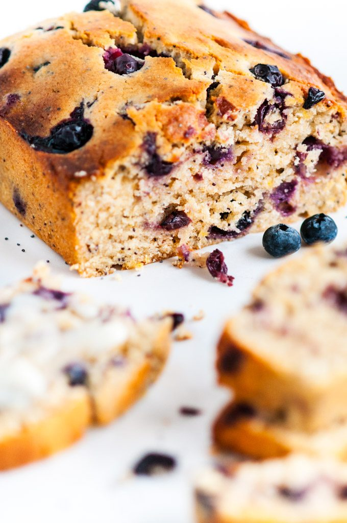 Lemon Blueberry Poppy Seed Bread loaf and slices
