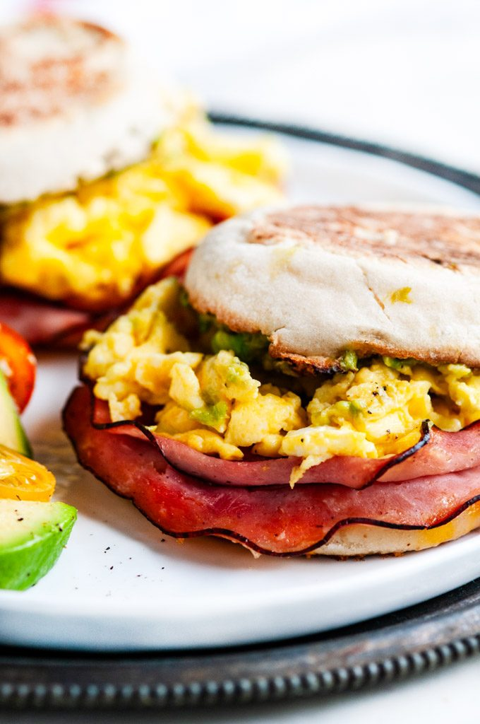 Make Ahead Freezer Breakfast Sandwiches close up with ham eggs and avocado