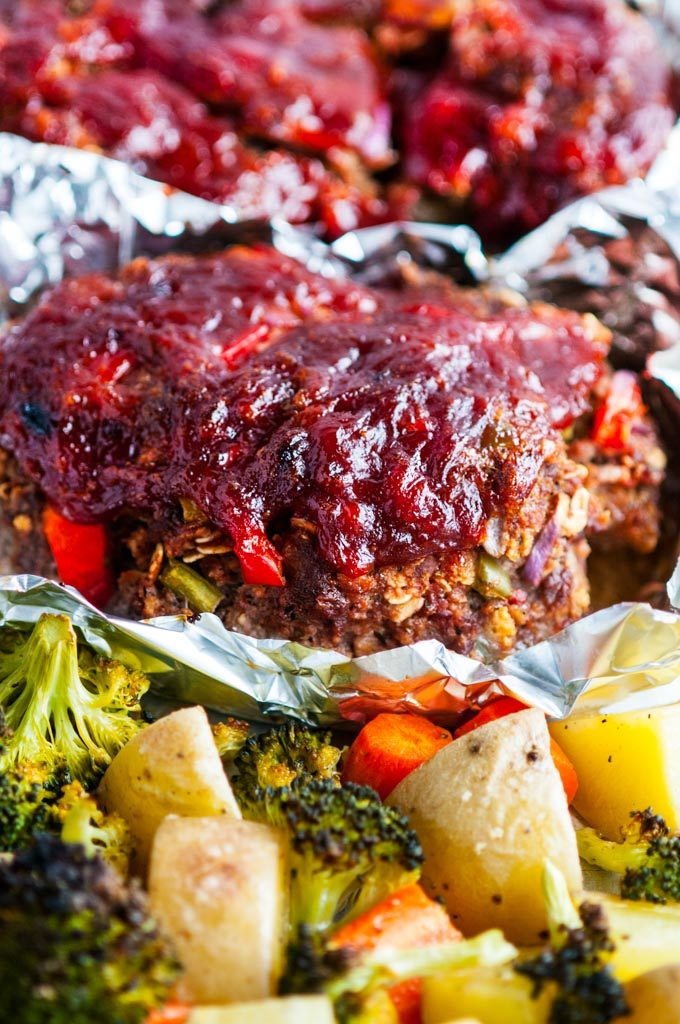 Sheet Pan Meat Loaf and Veggies close up