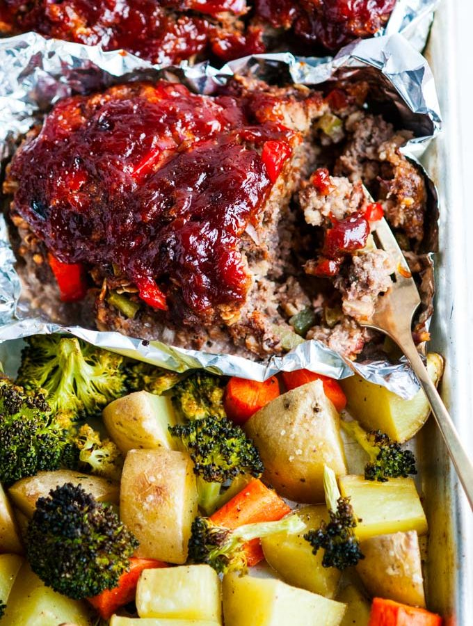 Sheet Pan Meat Loaf and Veggies
