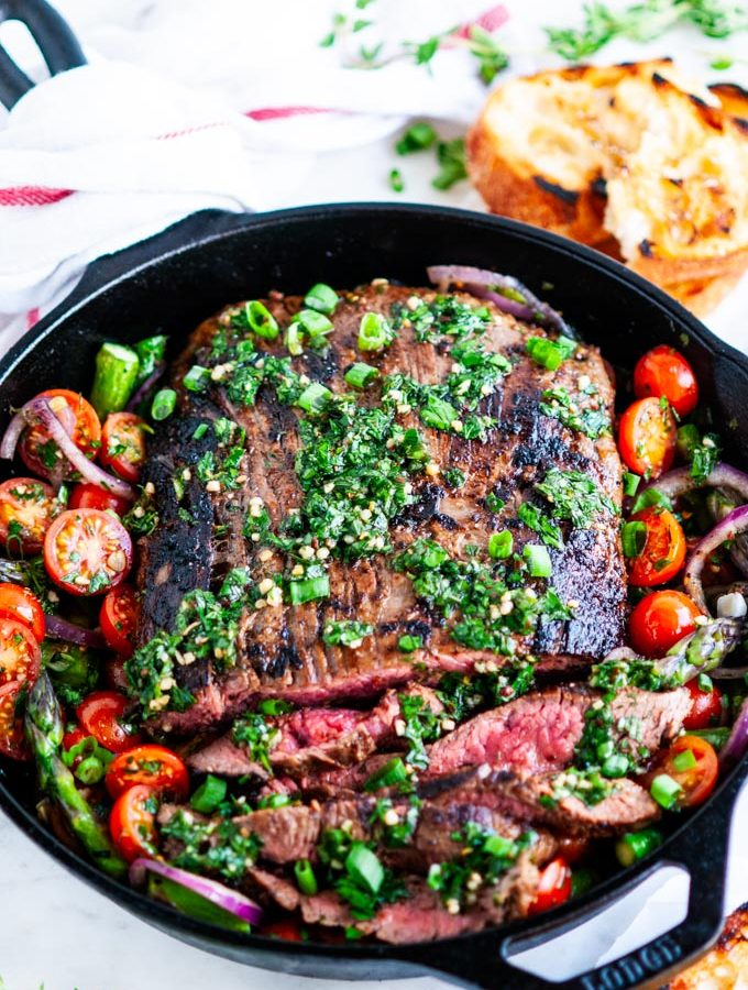 Skillet Flank Steak and Veggies with Chimichurri Sauce