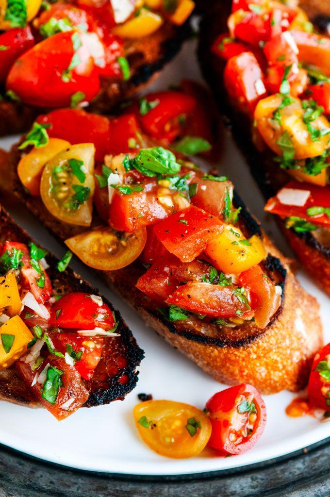 Tomato Basil Bruschetta close up