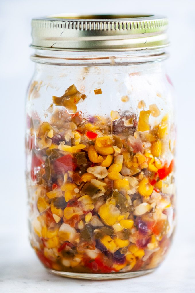 Black Bean Hummus with Spicy Corn Relish in a mason jar