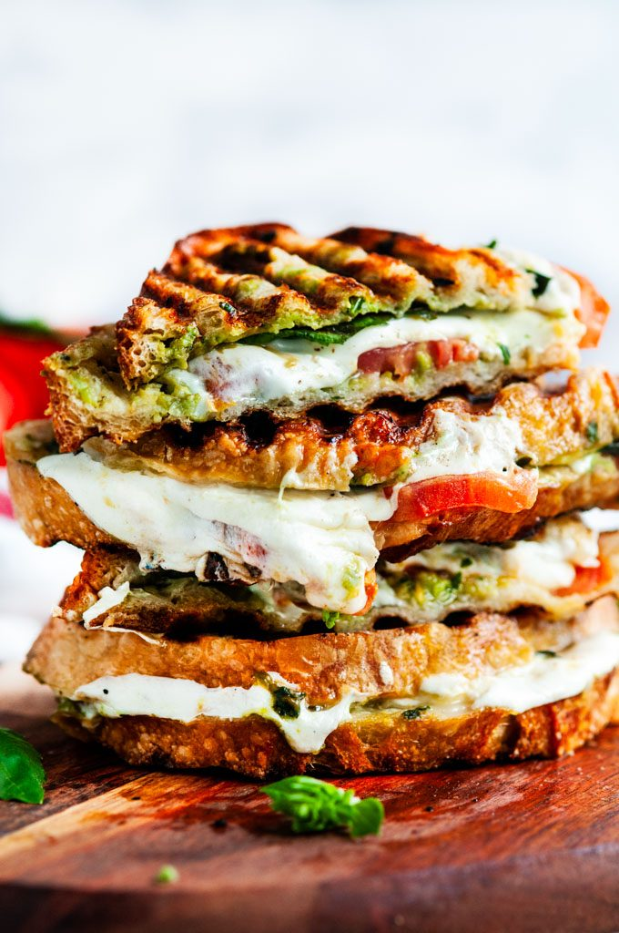 Caprese panini with avocado basil pesto stack
