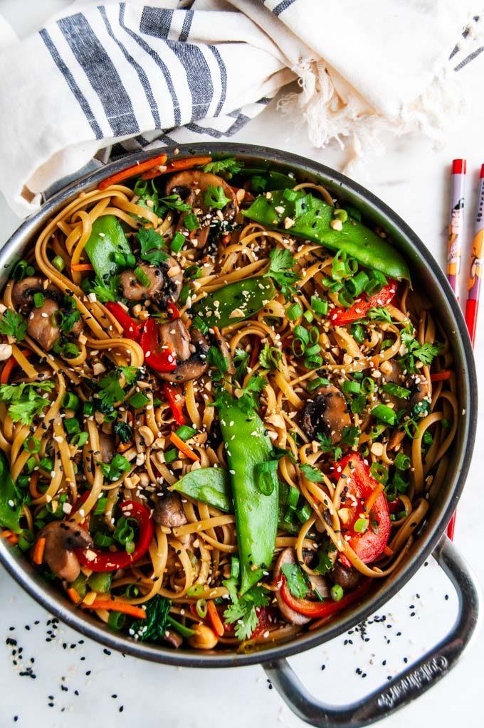 Spicy Thai Noodle Stir Fry in cuisine art skillet with chopsticks
