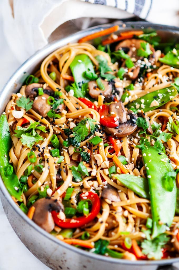 Spicy Thai Noodle Stir Fry in cuisine art skillet close up