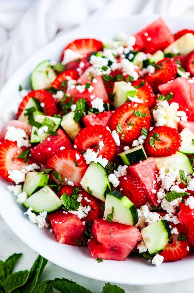Watermelon Strawberry Cucumber Salad