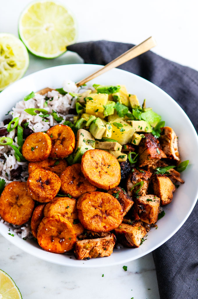 Cuban Chicken Bowls With Fried Plantains Aberdeen S Kitchen