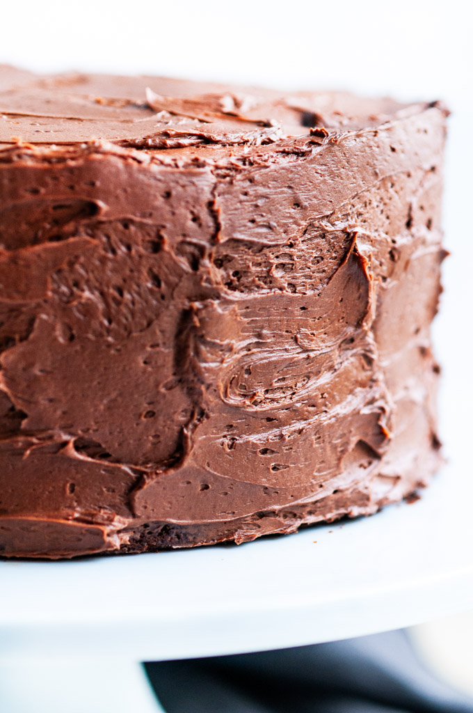 Devil's Food Cake with Chocolate Buttercream Frosting close up