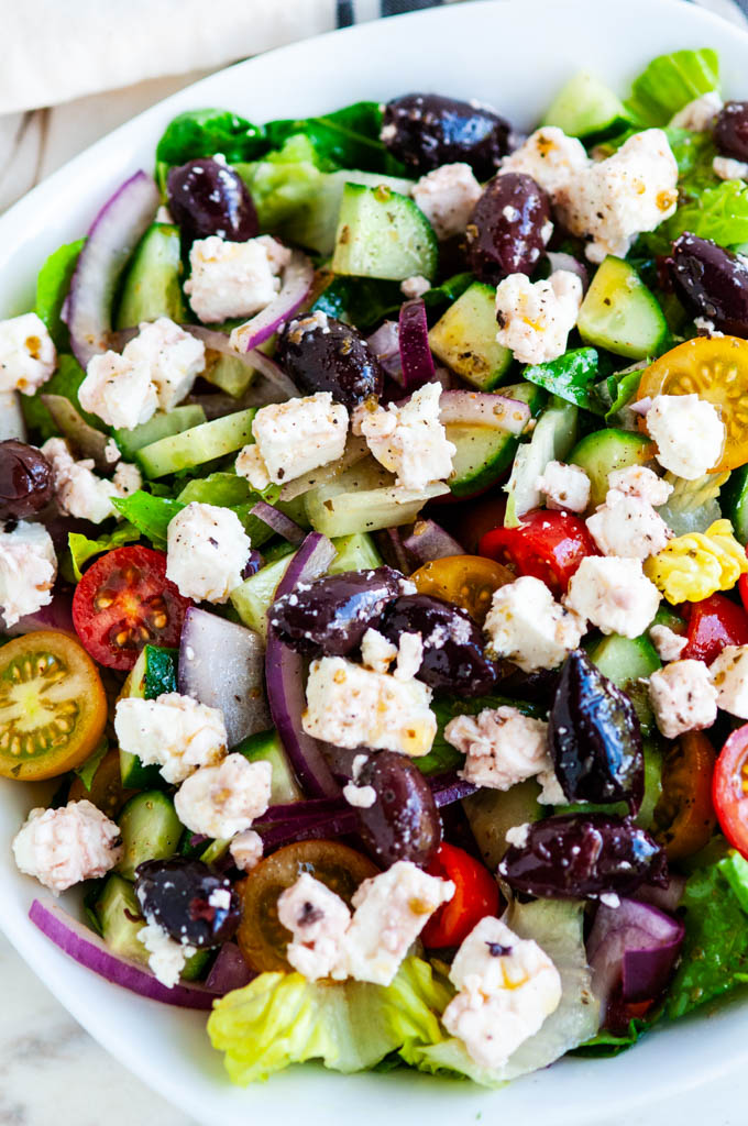 Greek Salad with Homemade Vinaigrette close up