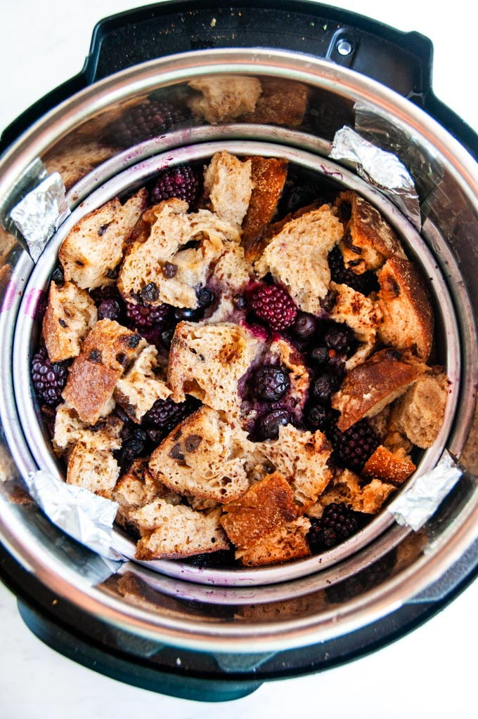 Cinnamon Berry Instant Pot French Toast Casserole with foil steam bath