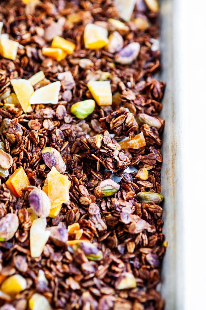 Pistachio Mango Granola sheet pan close up
