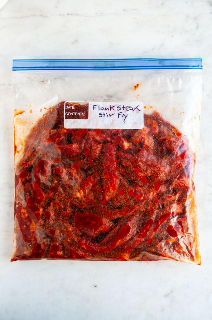 Chopped Veggie Beef Stir Fry flank steak marinade in ziploc bag