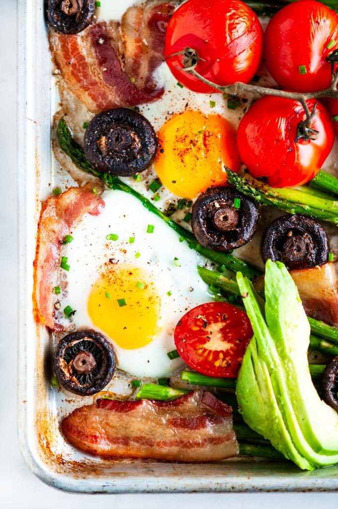 Sheet pan breakfast bake with tomatoes, eggs, asparagus, mushrooms, bacon and avocado