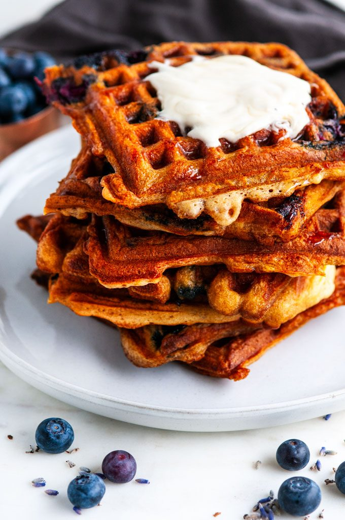 London Fog Blueberry Waffles with gray tea towel
